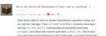 Minecraft Marketplace AMA on r/MCPE