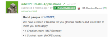 New MCPEsurvive and MCPEcreate realms